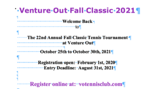 Venture Out Fall Classic 2021